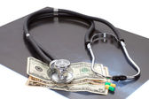 Stthoscope, dollars and x-ray — Stock Photo