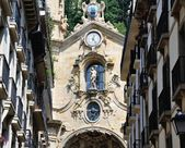 Facade of Old House with Clock — Stock Photo