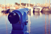 Touristic Telescope at the Barcelona Port (Retro Style) — Stock Photo