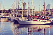 Yachts at the Port (Retro style) — Stock Photo