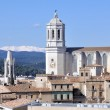 Aerial view of Church in Girona - Stock Photo