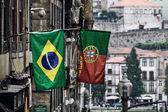 Flags at Porto street, Portugal — Stock Photo