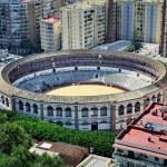 Aerial view of Bullring arena in Malaga — Stock Photo