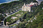 Aerial view of City Hall and gardens in Malaga — Stock Photo