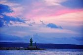 Port in Split with sunset sky — Stock Photo