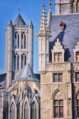 Belfry of Ghent, Belgium and Sant - Nicholas Church — Stockfoto