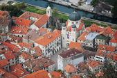 Aerial view of old medieval town Kotor — Stock Photo