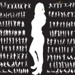 Big set of vector silhouettes — Stock Vector