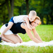 Little boy having fun with his mother — Stock Photo