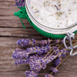 Natural lavender and coconut body scrub — Stock Photo #26016793
