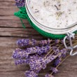 Stock Photo: Natural lavender and coconut body scrub