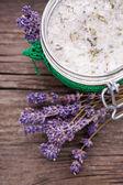 Natural lavender and coconut body scrub — Stock Photo