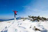 Güzel dağ yerde kış yoga seansı — Stok fotoğraf