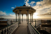 Sunset view on beautiful Brighton bandstand — Stock Photo