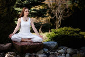 Outdoor yoga session in beautiful place - meditation — Photo