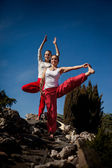 Outdoor yoga session in beautiful place - women exercise — Stock Photo