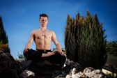 Outdoor yoga session in beautiful place - meditation — Stock Photo