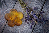 Natural diy soap with lavender — Stock Photo