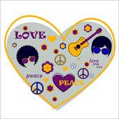 Hippie heart — Stock Vector
