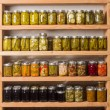 Shelves of canned goods — Stock Photo #12492182