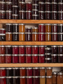 Shelves of jams and jellies — Stock Photo