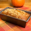 Pan of pumpkin bread fresh from the oven — Stock Photo