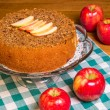 Постер, плакат: Red apples with apple cake and apple slices