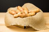 Basket of fingerling potatoes — Stock Photo