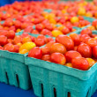 Stock Photo: Baskets of fresh cherry tomatoes