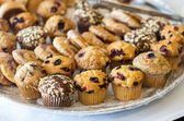 Plate of dessert muffins — Stock Photo