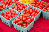Boxes of red cherry tomatoes — Stock Photo