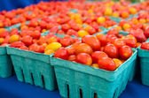 Baskets of fresh cherry tomatoes — Stock Photo