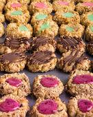 Tray of homemade thumbprint cookies — Stock Photo