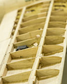 Section of wooden airplane wing — ストック写真