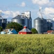 Stock Photo: Grain elevators and silos with wheat