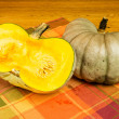 Jarrahdale winter squash cut in half — Stok fotoğraf