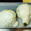 Stock Photo: Blue Hubbard squash ready for baking