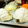 Stock Photo: Blue Hubbard squash halves ready to bake