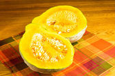 Blue Hubbard squash cut in half — Stock Photo
