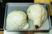 Blue Hubbard squash ready for baking — Stock Photo
