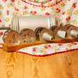 Vintage cookie press on wooden table - Foto de Stock