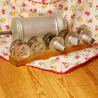 Vintage cookie press on wooden table — Stock Photo #17969979