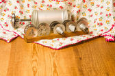 Vintage cookie press on wooden table — Stock Photo