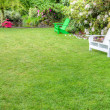 Landscaped garden scene with benches — Stock Photo #18147945