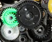 Closeup of mechanical gear train — Stock Photo