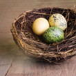 Wooden table with birds nest and eggs — Stock Photo #18630303