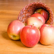 Stock Photo: Red apples in cornucopia