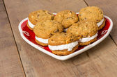 Cookie tray with filled cookies — Stock Photo