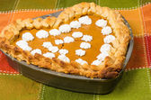 Heart shaped pumpkin pie — Stock Photo