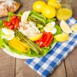 Stock Photo: Crab salad with asparagus and loaf of bread